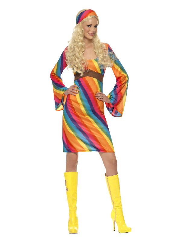 Rainbow Hippie Costume, Multi-Coloured