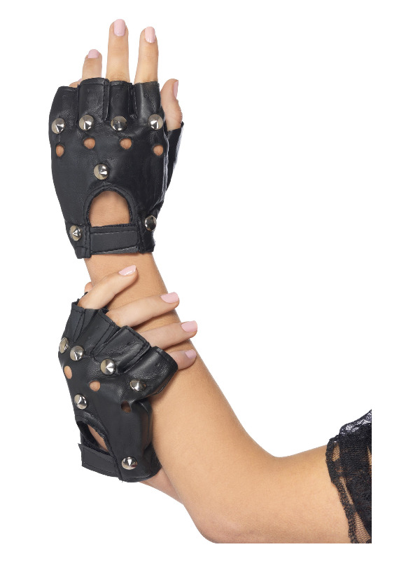 Punk Gloves, Black, with Studs