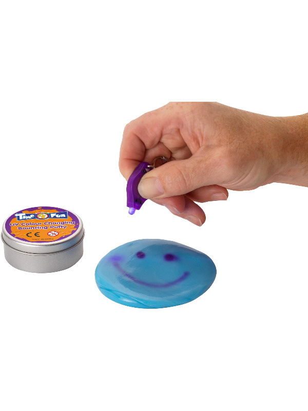 UV Colour Changing Bouncing Putty, Assorted Colours, with UV Light, 24