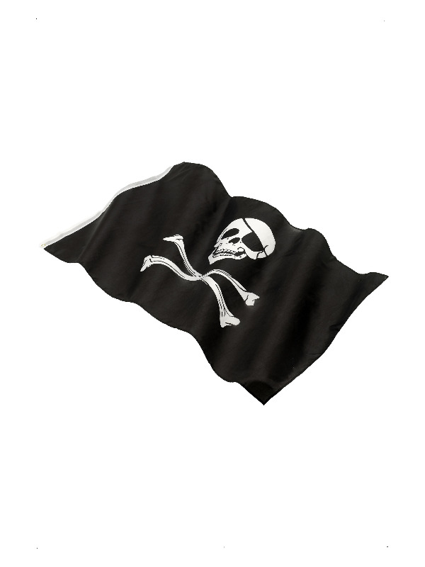 Pirate Flag, approx 152x91cm / 60x36in, Black, with Large Skull & Crossbones Print