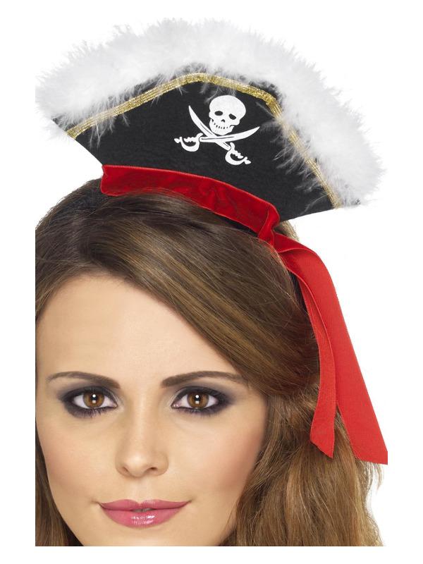 Mock Pirate Hat on Headband, Black, with Marabou