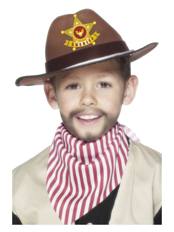 Cowboy Hat with Sheriff Badge, Brown, EVA