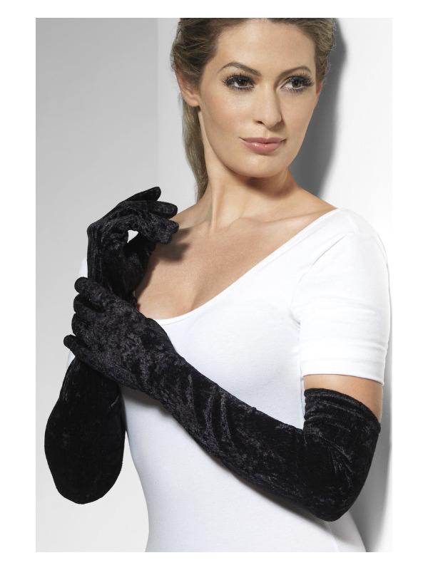 Velveteen Gloves, Black, Long