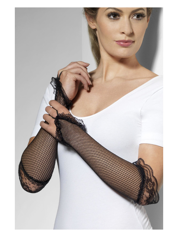 Fingerless Fishnet Gloves Black, Black, with Lace