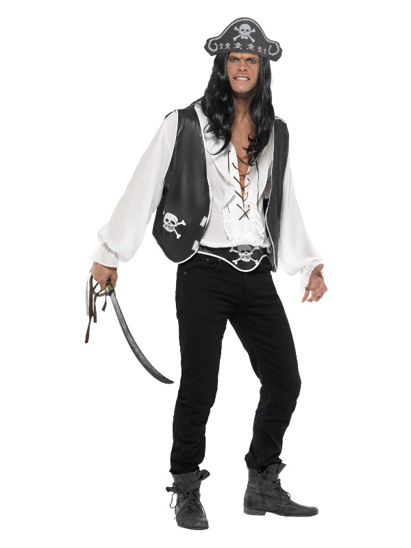 Pirate Set, Black, with Hat, Waistcoat and Belt