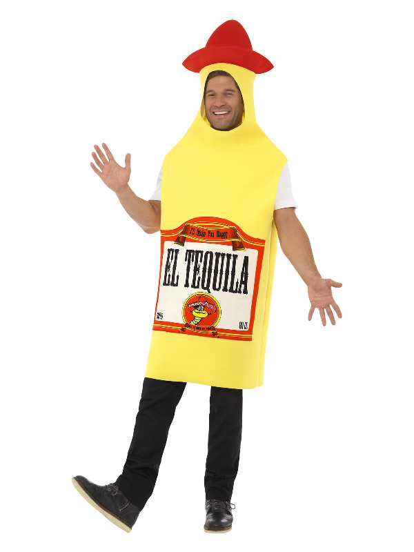 Tequila Bottle Costume, Yellow, with Tabard