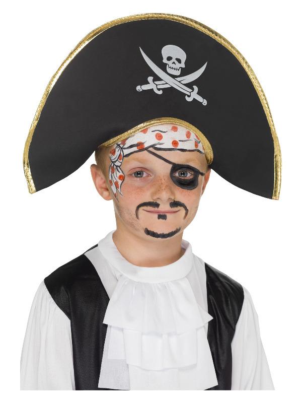 Pirate Captain Hat, Black, with Skull & Crossbones