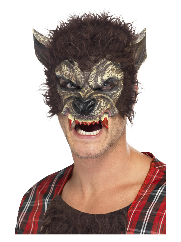 Werewolf Half Face Latex Mask, Brown, with Fur & Teeth