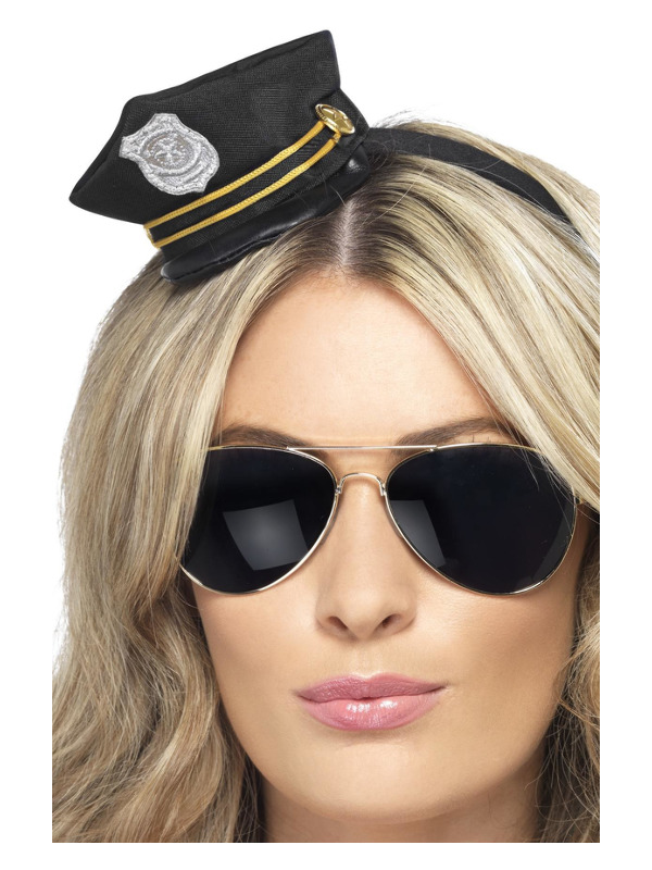 Mini Cop Hat, Black, with Badge and Rope Detail