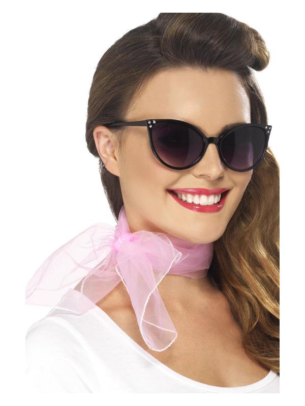 50s Neck Scarf, Pink, Chiffon Style