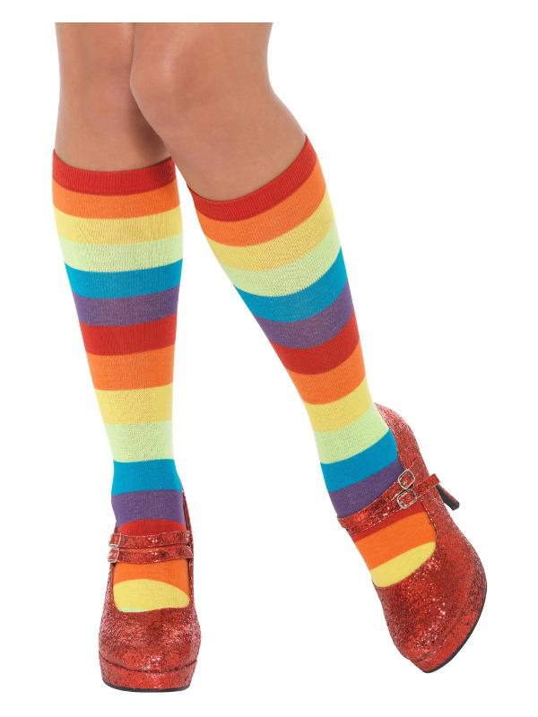 Rainbow Clown Socks, Unisex, Multi-Coloured, Short
