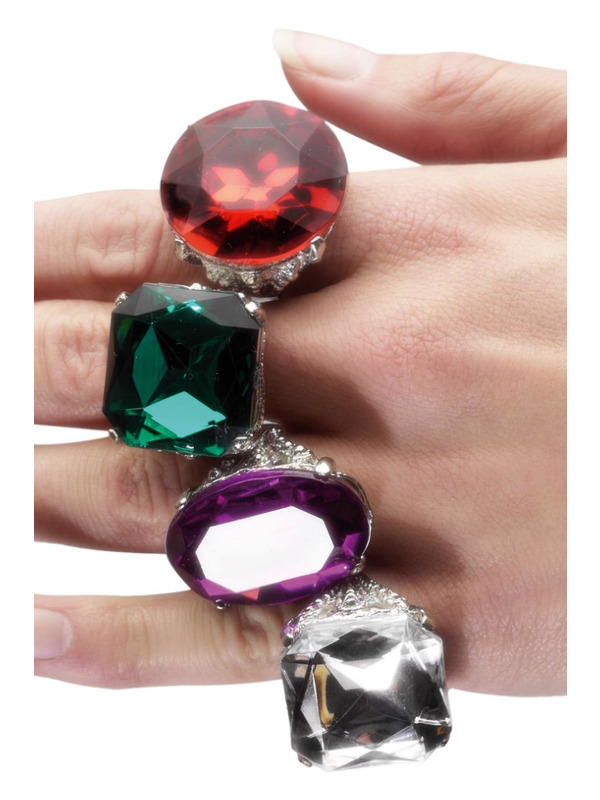 Assorted Rings, Multi-Coloured, with Jewels, 24