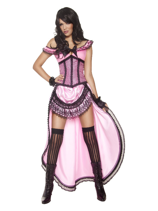 Western Authentic Brothel Babe Costume, Pink