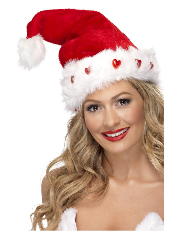 Light Up Santa Hat, Red, Deluxe