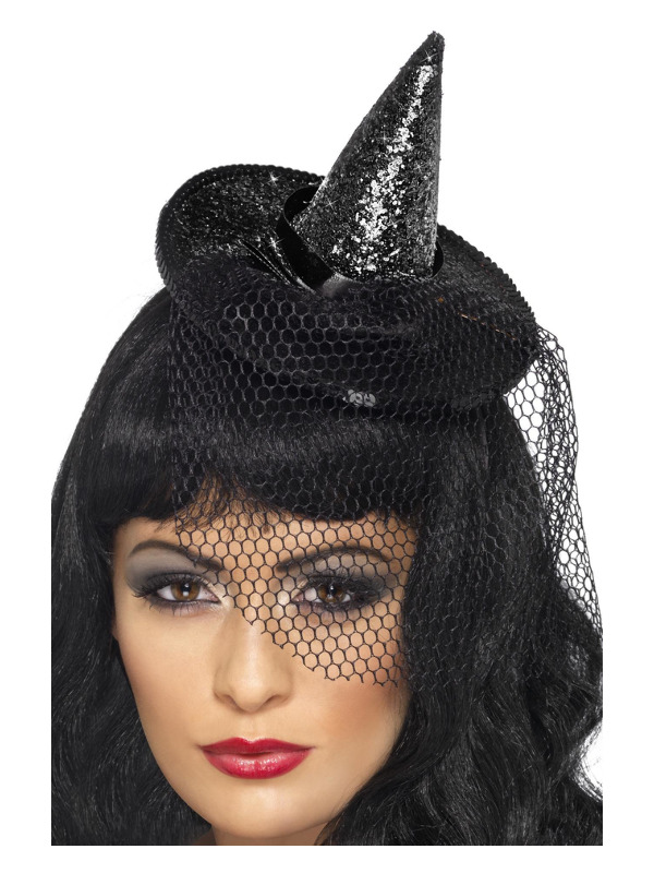 Mini Witch's Hat, Black, Glittered, on Headband with Netting