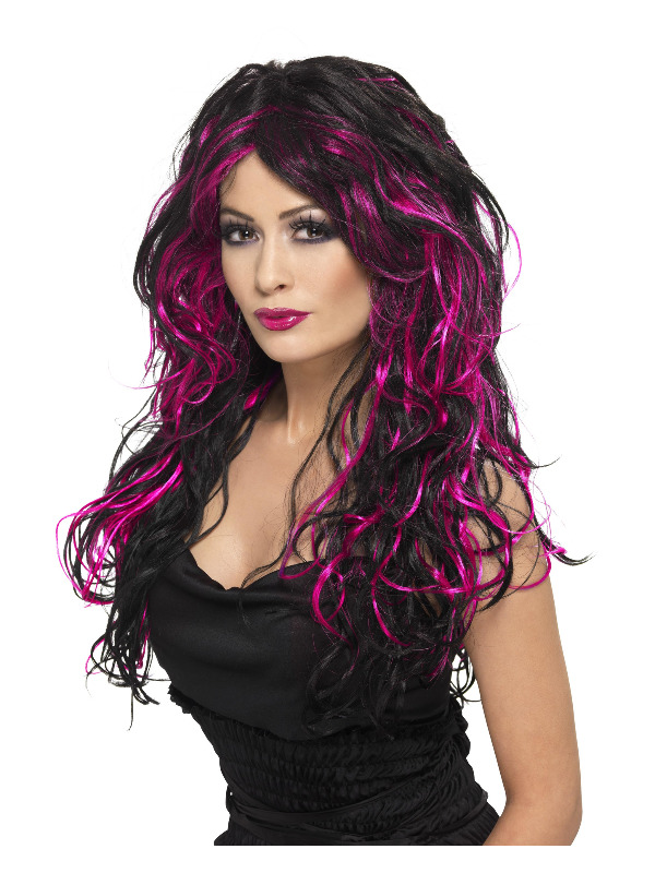 Gothic Bride Wig, Pink & Black, Long, Streaked