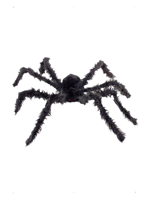 Giant Hairy Spider with Light Up Eyes, Black, with Bendy Legs, 102cm