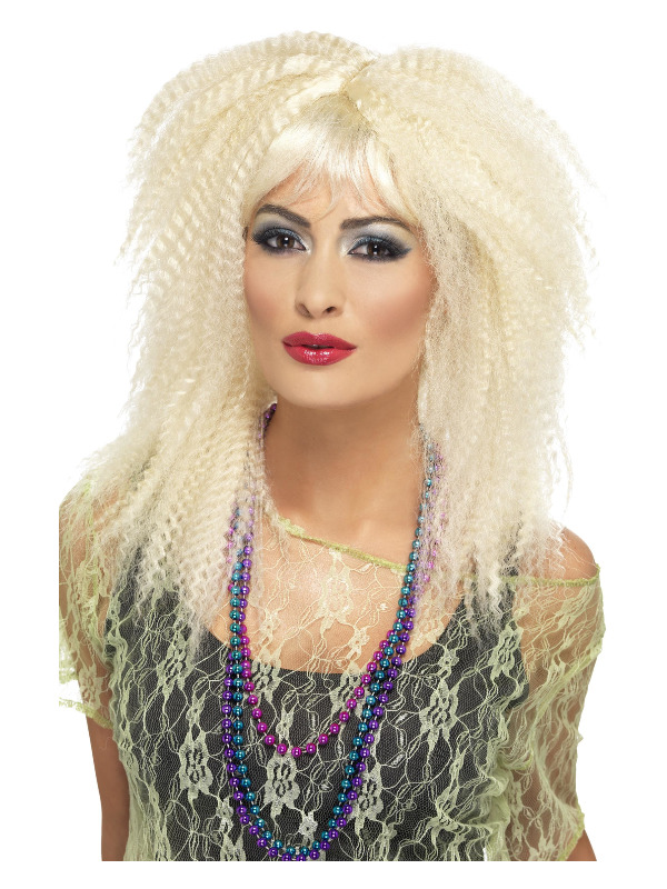 80s Trademark Crimp Wig, Blonde, Layered, Long, with Fringe