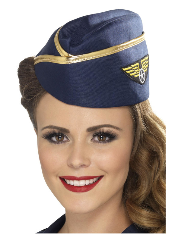 Air Hostess Hat, Blue, with Gold Rim