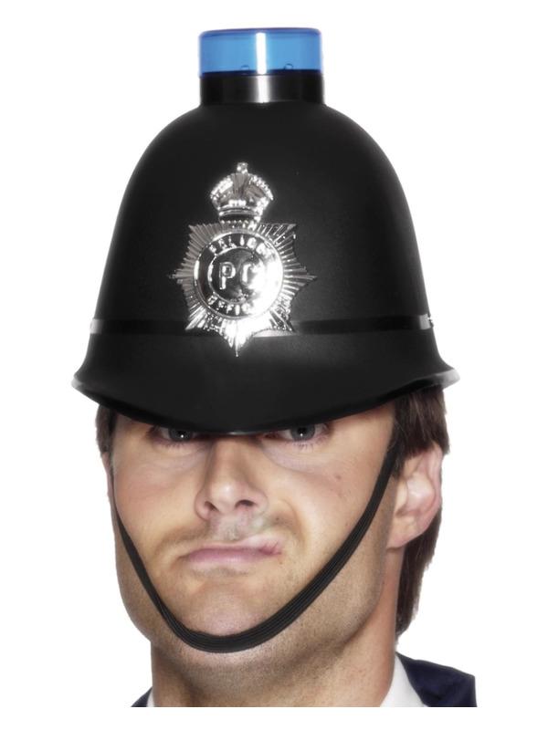 Police Helmet with Flashing Siren Light, Black
