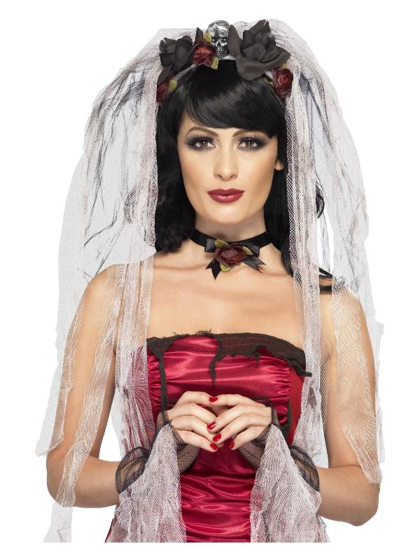 Gothic Bride Kit, Black, with Rose & Skull Veil, Choker & Gloves