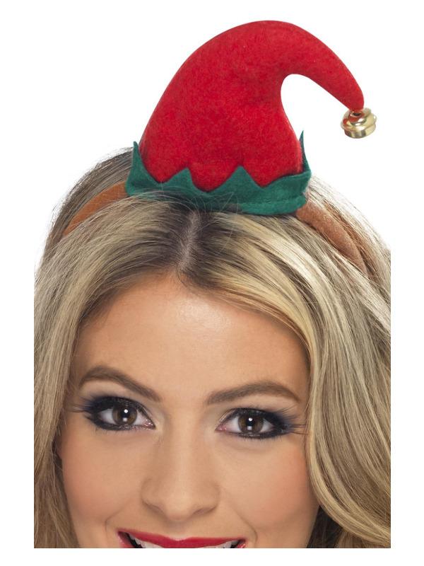 Mini Elf Hat, Red, on Headband