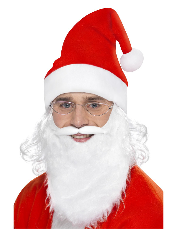 Santa Dress Up Kit, White, with Beard, Glasses & Hat with Hair
