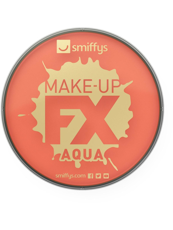 Smiffys Make-Up FX, Orange, Aqua Face and Body Paint, 16ml, Water Based