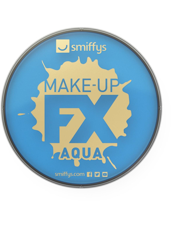 Smiffys Make-Up FX, Pale Blue, Aqua Face and Body Paint, 16ml, Water Based