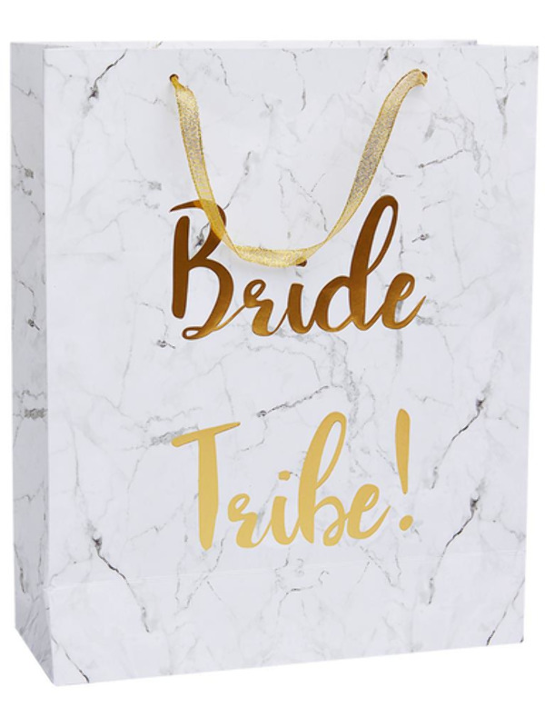 Bride Tribe Gift Bag, White & Gold