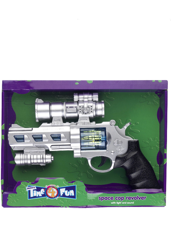 Space Cop Revolver, Silver, with Light and Sound, 25cm/10in