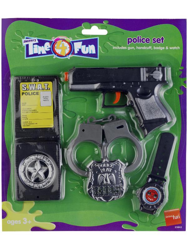 Police Set, Black, with Gun, Handcuffs, Badges & Watch