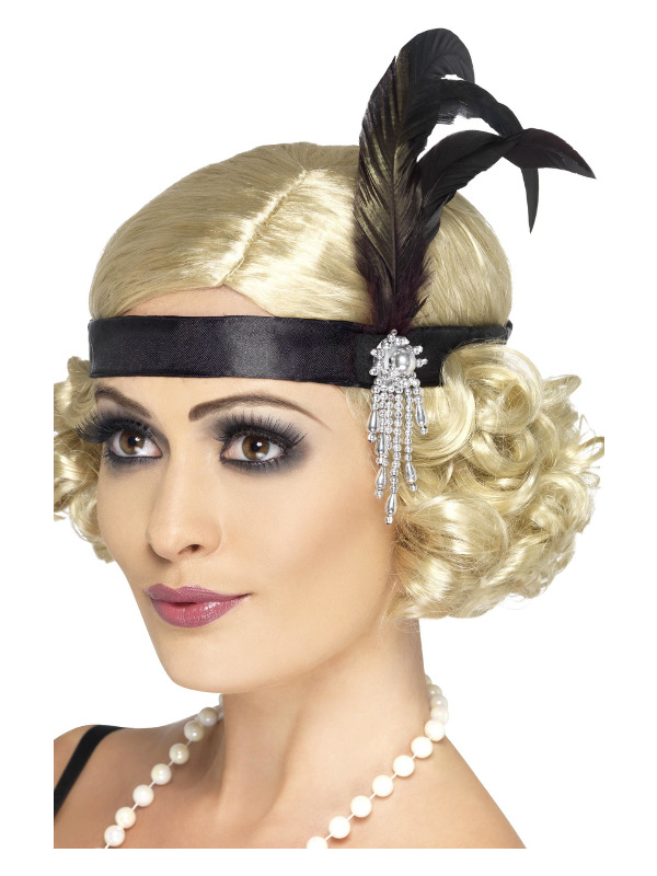 Black Satin Charleston Headband, Black, with Feather and Jewel Detail