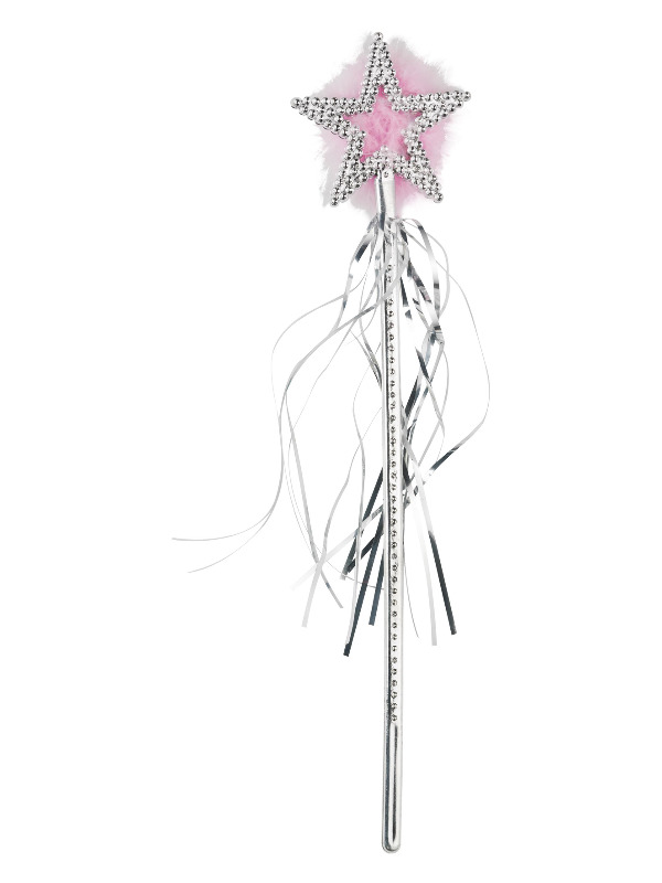 Star Wand, Silver, Marabou and Tinsel