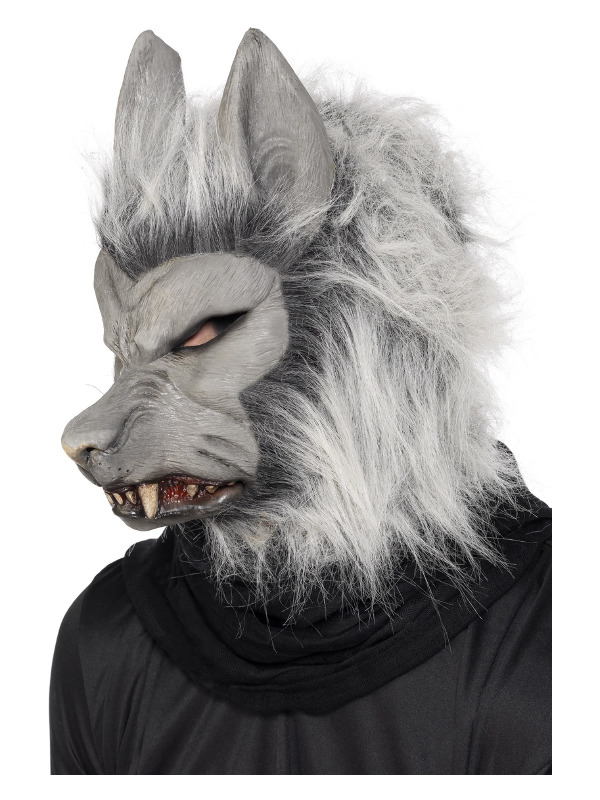Werewolf Latex Mask, Grey, with Hair & Ears
