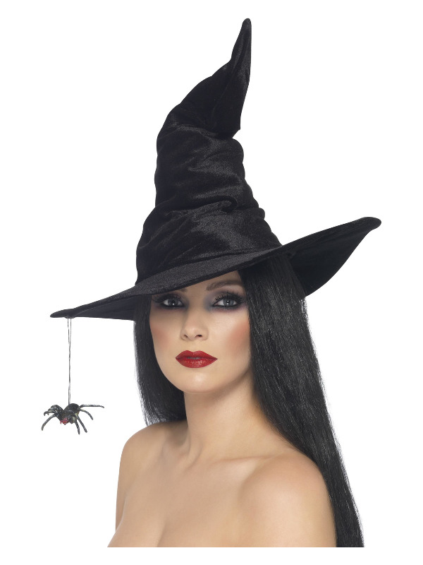 Witch Hat, Black, Velour, with Spider