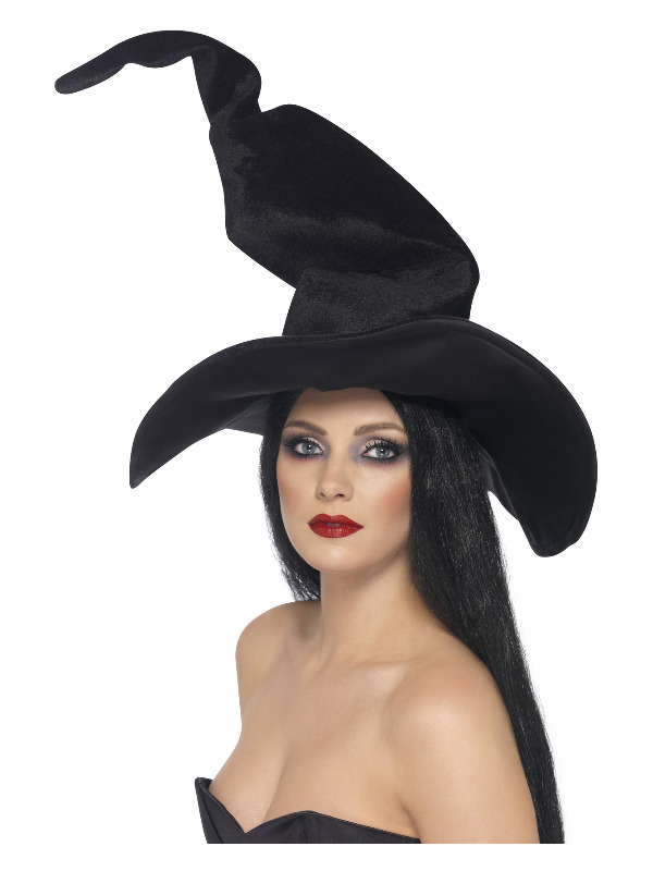 Witch's Hat, Black, Tall & Twisted, Velour