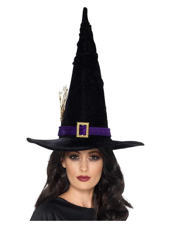 Witch Hat Black with Purple Belt, Black, with Buckle and Twigs