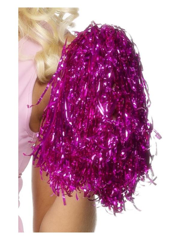 Pom Poms Metallic, Pink, Pair