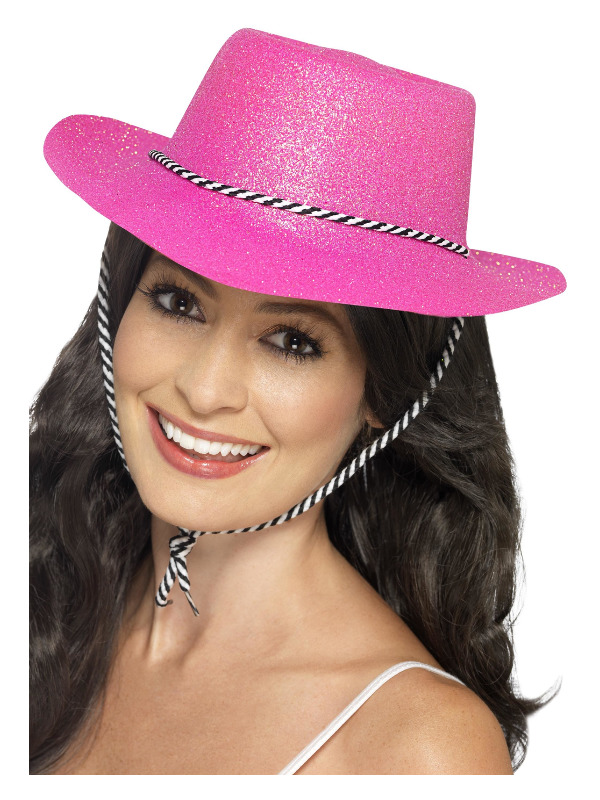 Cowboy Glitter Hat, Neon Pink, with Cord