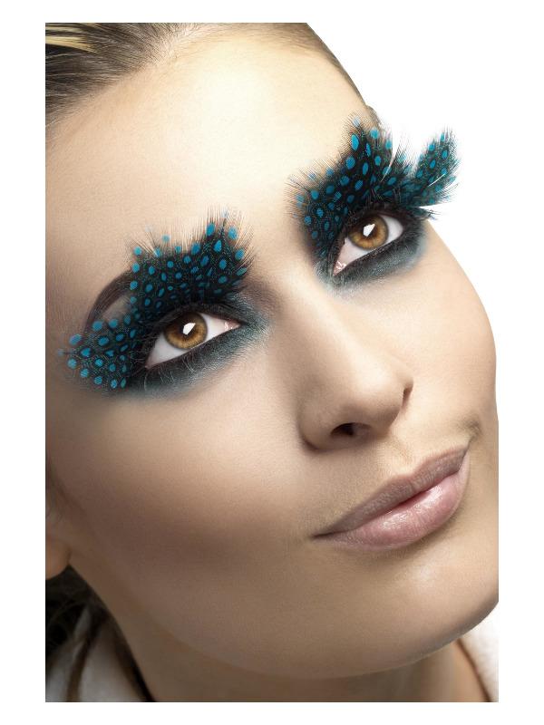Eyelashes, Large Feather with Aqua Dots, Black, Contains Glue