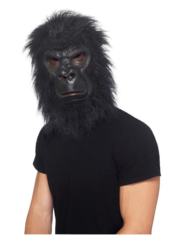 Gorilla Mask, Black, with Hair, Foam Latex