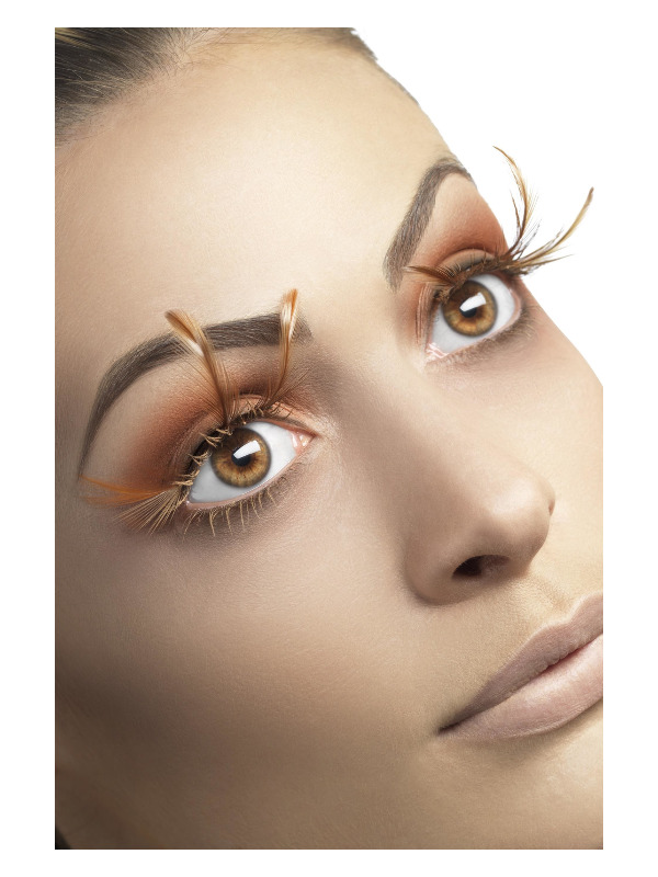 Eyelashes with Long Brown Feathers, Brown, Contains Glue