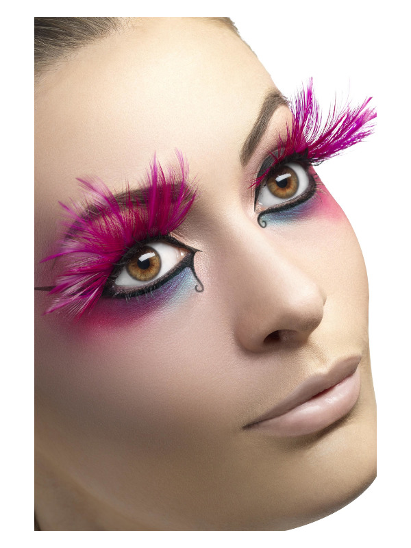 Eyelashes, Pink, with Feather Plumes, Contains Glue