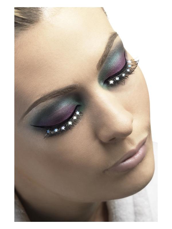 Eyelashes, Black with Stars, Black, Contains Glue