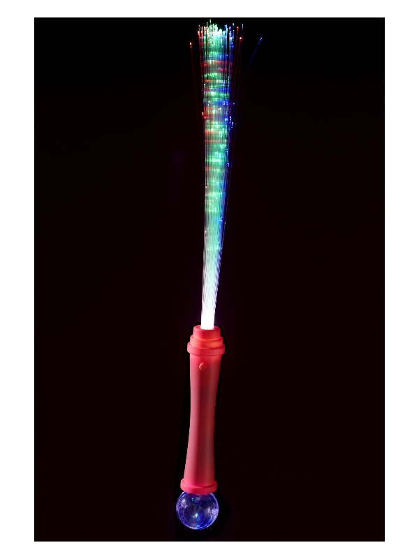 Fibre Optic Wand, Pink, with Disco Ball , 36cm / 14in