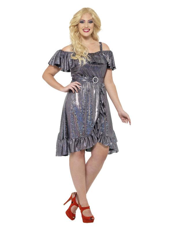 Curves 70s Disco Diva Costume, Silver