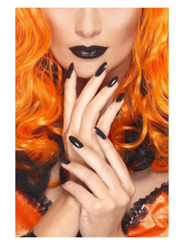 Smiffys Make-Up FX, Nail Polish & Lipstick, Black