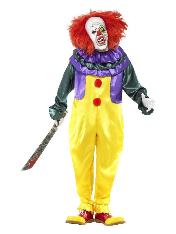 Classic Horror Clown Costume, Multi-Coloured