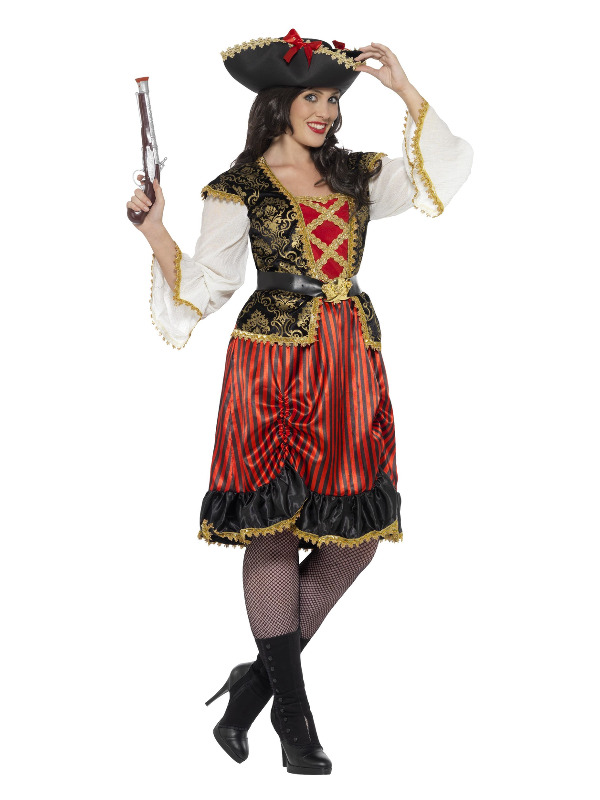 Curves Pirate Lady Costume, Red